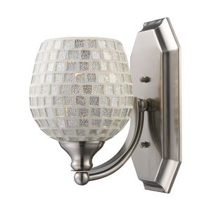 1 Light Vanity In Satin Nickel And Silver Mosaic Glass by Elk Lighting