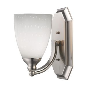 1 Light Vanity In Satin Nickel And Simply White Glass by Elk Lighting