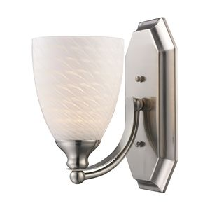 1 Light Vanity In Satin Nickel And White Swirl Glass by Elk Lighting