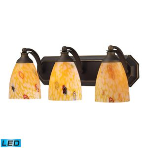 3 Light Vanity In Aged Bronze And Yellow Blaze Glass by Elk Lighting