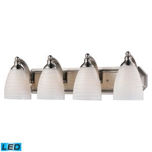 4 Light Vanity In Satin Nickel And White Swirl Glass by Elk Lighting