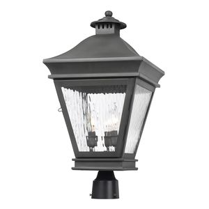 Outdoor Post Lantern Landings Collection In Solid Brass In A Charcoal Finish by Elk Lighting
