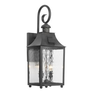 Outdoor Wall Lantern Monterey Collection In Solid Brass In A Charcoal Finish by Elk Lighting