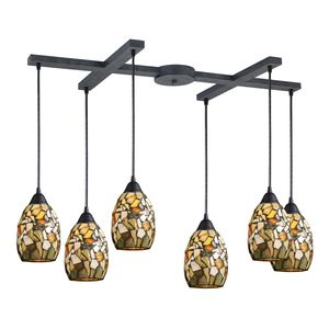 Trego 6 Light Pendant In Dark Rust by Elk Lighting
