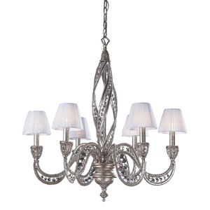 6 Light Chandelier In Sunset Silver And Crystal Accents by Elk Lighting