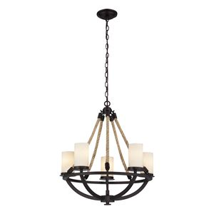 Natural Rope 5 Light Chandelier In Aged Bronze by Elk Lighting