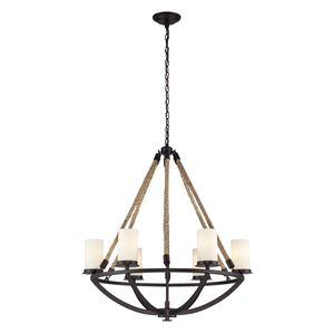 Natural Rope 6 Light Chandelier In Aged Bronze by Elk Lighting