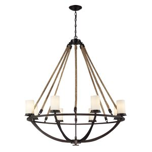 Natural Rope 8 Light Chandelier In Aged Bronze by Elk Lighting