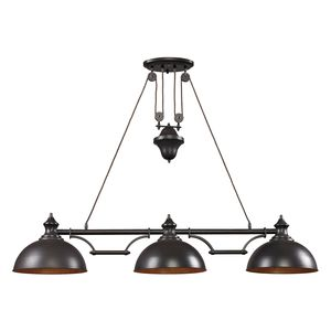 Farmhouse 3 Light Billiard In Oiled Bronze by Elk Lighting