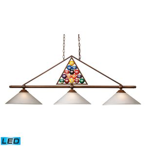 3-Light Billiard Light With Wood Patina And White Glass by Elk Lighting