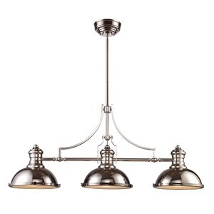 Chadwick 3-Light Billiard/Island Light In Polished Nickel by Elk Lighting