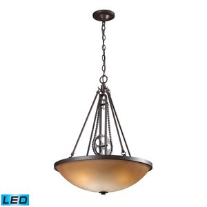 Cog And Chain Vintage Rust Pendant by Elk Lighting