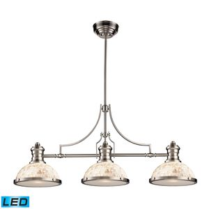 Chadwick 3-Light Island Light In Satin Nickel With Cappa Shell by Elk Lighting