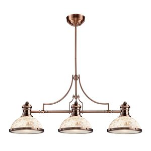 Chadwick 3-Light Island Light In Antique Copper With Cappa Shell by Elk Lighting