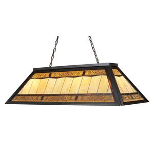 Tiffany Game Room Lighting 4-Light Billiard/Island Light In Tiffany Bronze Metal by Elk Lighting