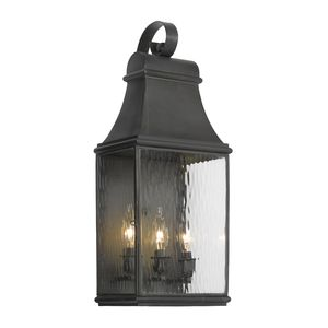 Outdoor Wall Lantern Jefferson Collection In Solid Brass In A Charcoal Finish by Elk Lighting