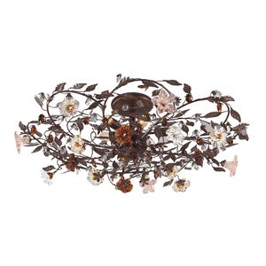 6 Light Semi Flush In Deep Rust And Hand Blown Florets by Elk Lighting