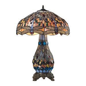 Dragonfly Collection 3 Light Table Lamp In Dark Bronze by Elk Lighting