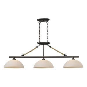 Natural Rope 3 Light Billiard In Aged Bronze by Elk Lighting