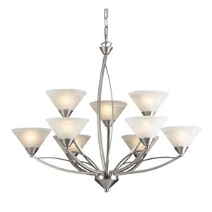 9 Light Chandelier In Satin Nickel And Marblized White Glass by Elk Lighting