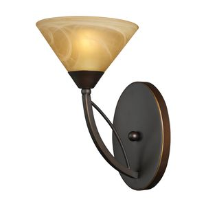1 Light Wall Bracket In Aged Bronze And Tea Swirl Glass by Elk Lighting