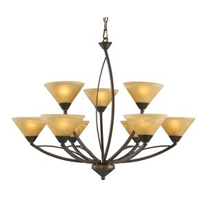 9 Light Chandelier In Aged Bronze And Tea Swirl Glass by Elk Lighting