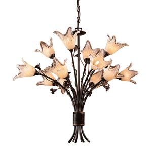12 Light Chandelier In Aged Bronze And Hand Blown Tulip Glass by Elk Lighting