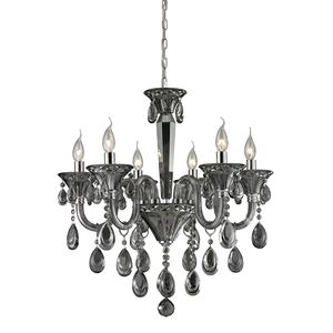 6 Light Crystal Chandelier In Smoke Plated & Chrome Finish by Elk Lighting