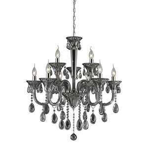 6+3 Light Crystal Chandelier In Smoke Plated & Chrome Finish by Elk Lighting