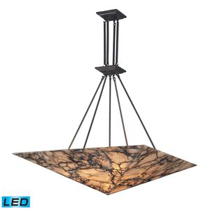 9 Light Pendant In Antique Brass And Veined Stone by Elk Lighting