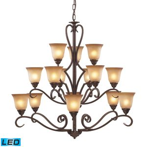 15 Light Chandelier In Mocha And Antique Amber Glass by Elk Lighting