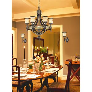 6 Light Chandelier In Antique Bronze & Dark Umber And Marblized Amber Glass by Elk Lighting