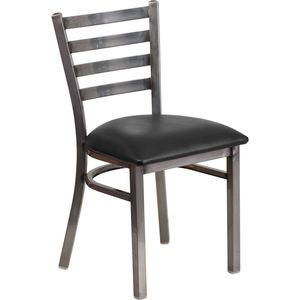 HERCULES™ Series Clear Coated Ladder Back Metal Restaurant Chair - Black Vinyl Seat by Flash Furniture
