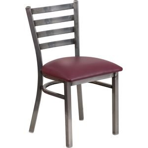 HERCULES™ Series Clear Coated Ladder Back Metal Restaurant Chair - Burgundy Vinyl Seat by Flash Furniture
