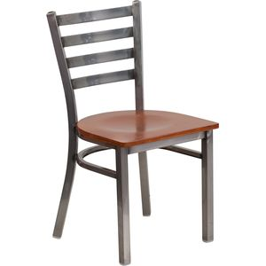 HERCULES™ Series Clear Coated Ladder Back Metal Restaurant Chair - Cherry Wood Seat by Flash Furniture