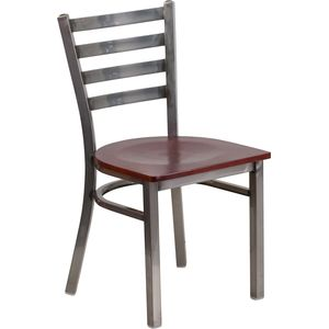 HERCULES™ Series Clear Coated Ladder Back Metal Restaurant Chair - Mahogany Wood Seat by Flash Furniture