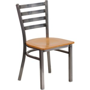 HERCULES™ Series Clear Coated Ladder Back Metal Restaurant Chair - Natural Wood Seat by Flash Furniture