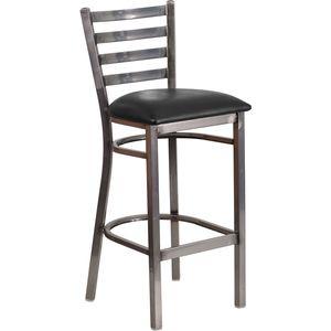 HERCULES™ Series Clear Coated Ladder Back Metal Restaurant Barstool - Black Vinyl Seat by Flash Furniture