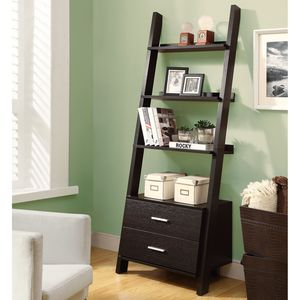 69 In High Ladder Bookcase With Cappuccino Finish By Monarch Specialties