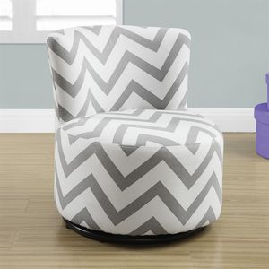 Fabric Juvenile Swivel Chair With Grey Chevron Upholstery By Monarch Specialties