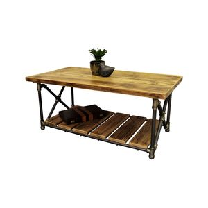 Houston Industrial Chic Coffee Table In Brushed Brass Gray Steel Combo With  Natural Stained Wood By Furniture Pipeline