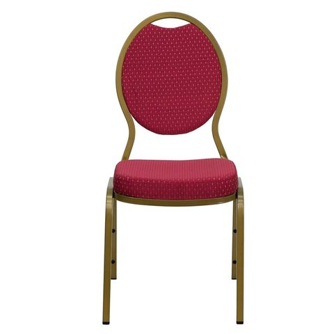 Burgundy Patterned HERCULES™ Series Teardrop Banquet Chair - Gold Frame Finish by Flash Furniture