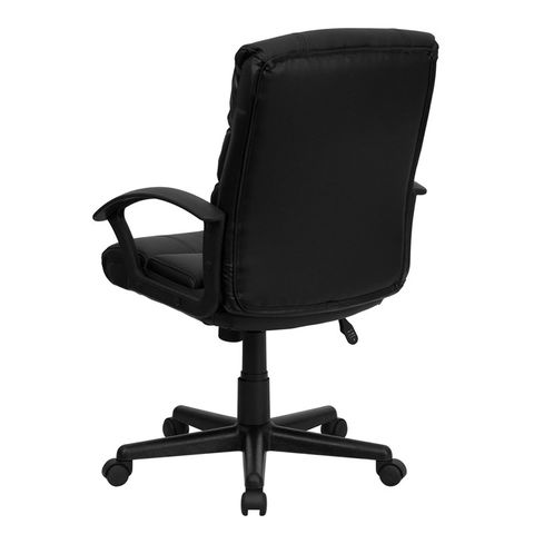 Eco-Friendly Black Leather Mid-Back Office Chair by Flash Furniture