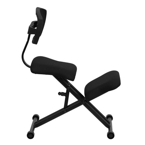 Black Ergonomic Kneeling Chair with Mesh Back by Flash Furniture