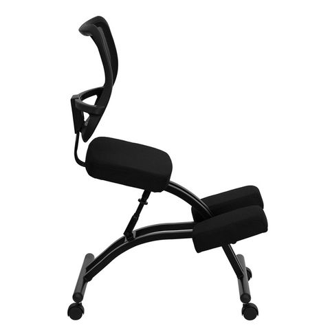 Black Ergonomic Kneeling Office Chair with Black Mesh Back by Flash Furniture