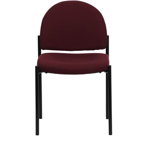 Burgundy Fabric Comfortable Stackable Steel Side Chair by Flash Furniture