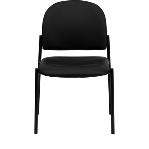 Black Vinyl Comfortable Stackable Steel Side Chair by Flash Furniture
