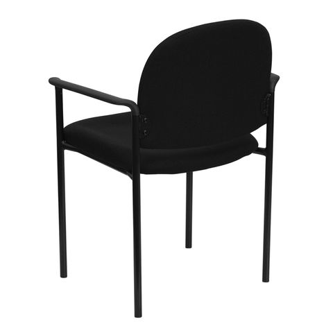 Black Fabric Comfortable Stackable Steel Side Chair with Arms by Flash Furniture