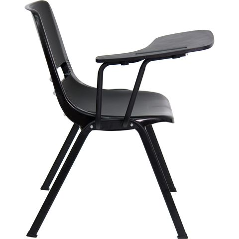 Black Shell Chair with Right Handed Tablet Arm by Flash Furniture