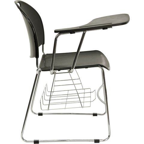 Black High Density Right Facing Tablet Arm Chair with Chrome Frame by Flash Furniture